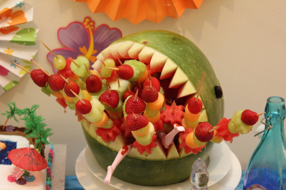 Shark watermelon carving