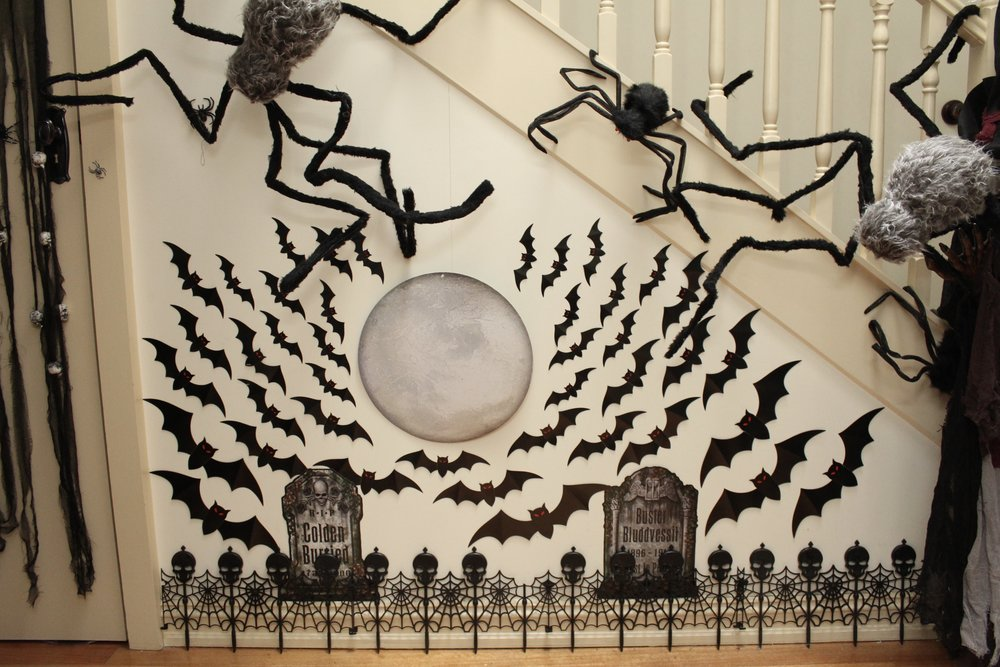 Graveyard with swarming bats