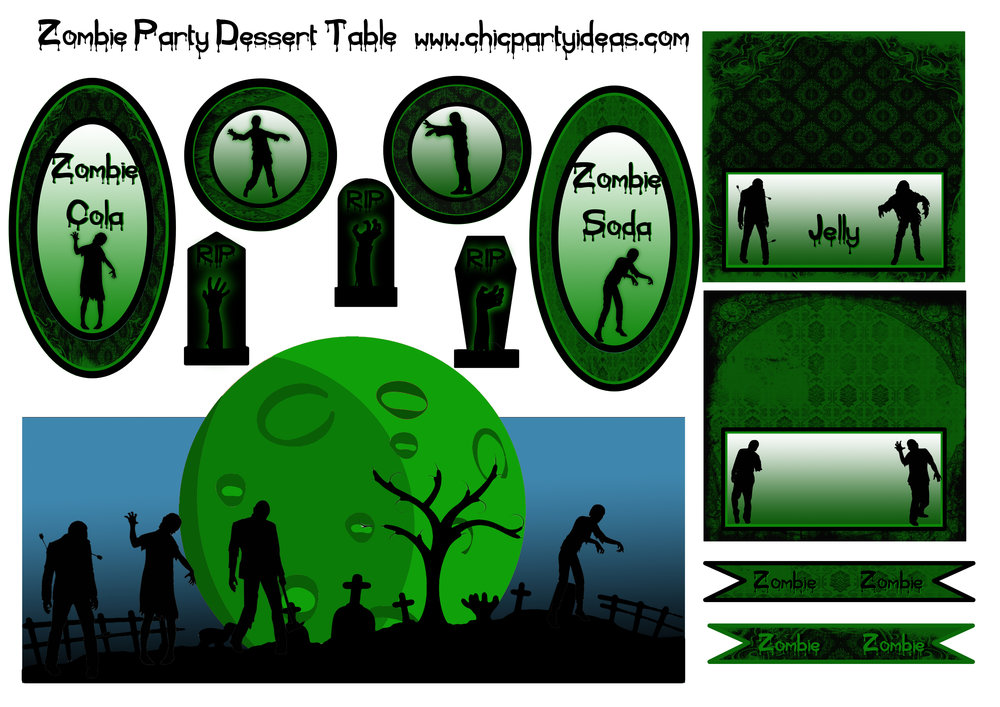 Zombie party free printables