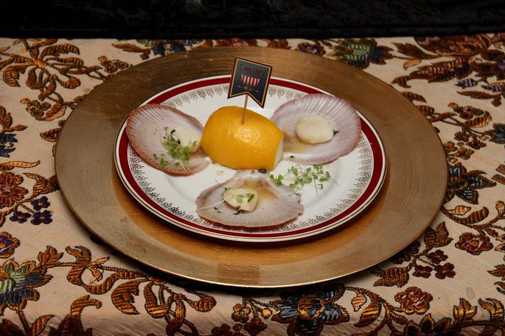 Medieval Dinner Party entree - Scallops on the half shell