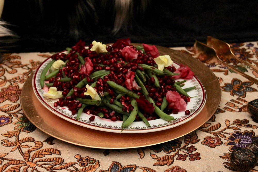 Medieval Dinner Party Sides - Beans with Pomegranate