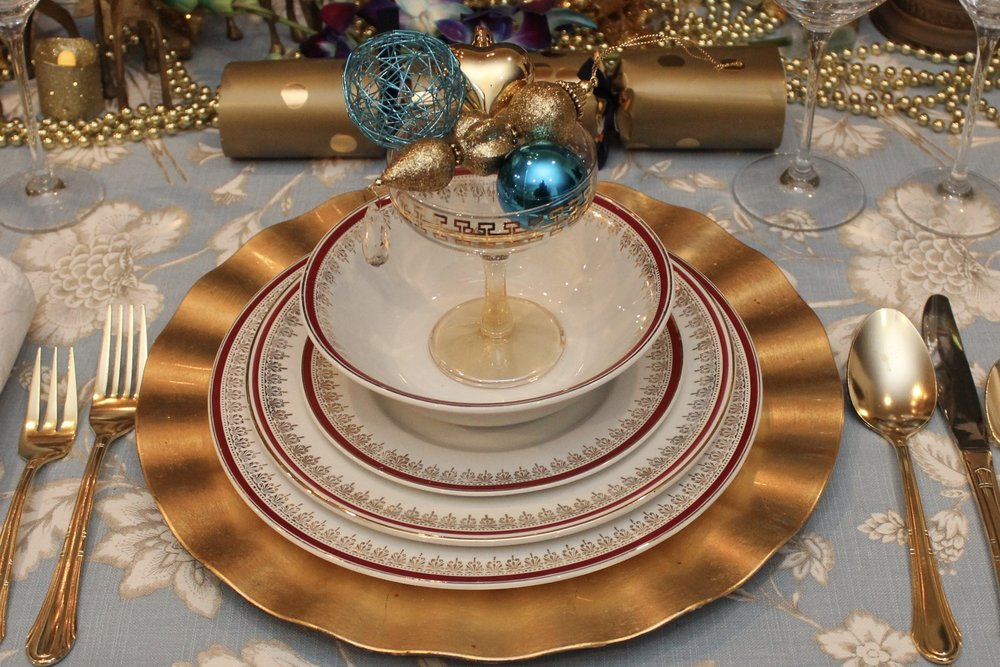 Blue and Gold Christmas - Explore upholstery fabrics for table cloths