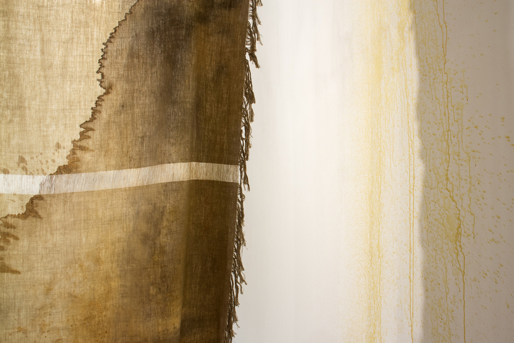 that which passes through [detail]  2013 linen, bleach, acrylic, fabric dye, spray paint, ink, rust, coffee, & thread   photo by Nabiha Khan