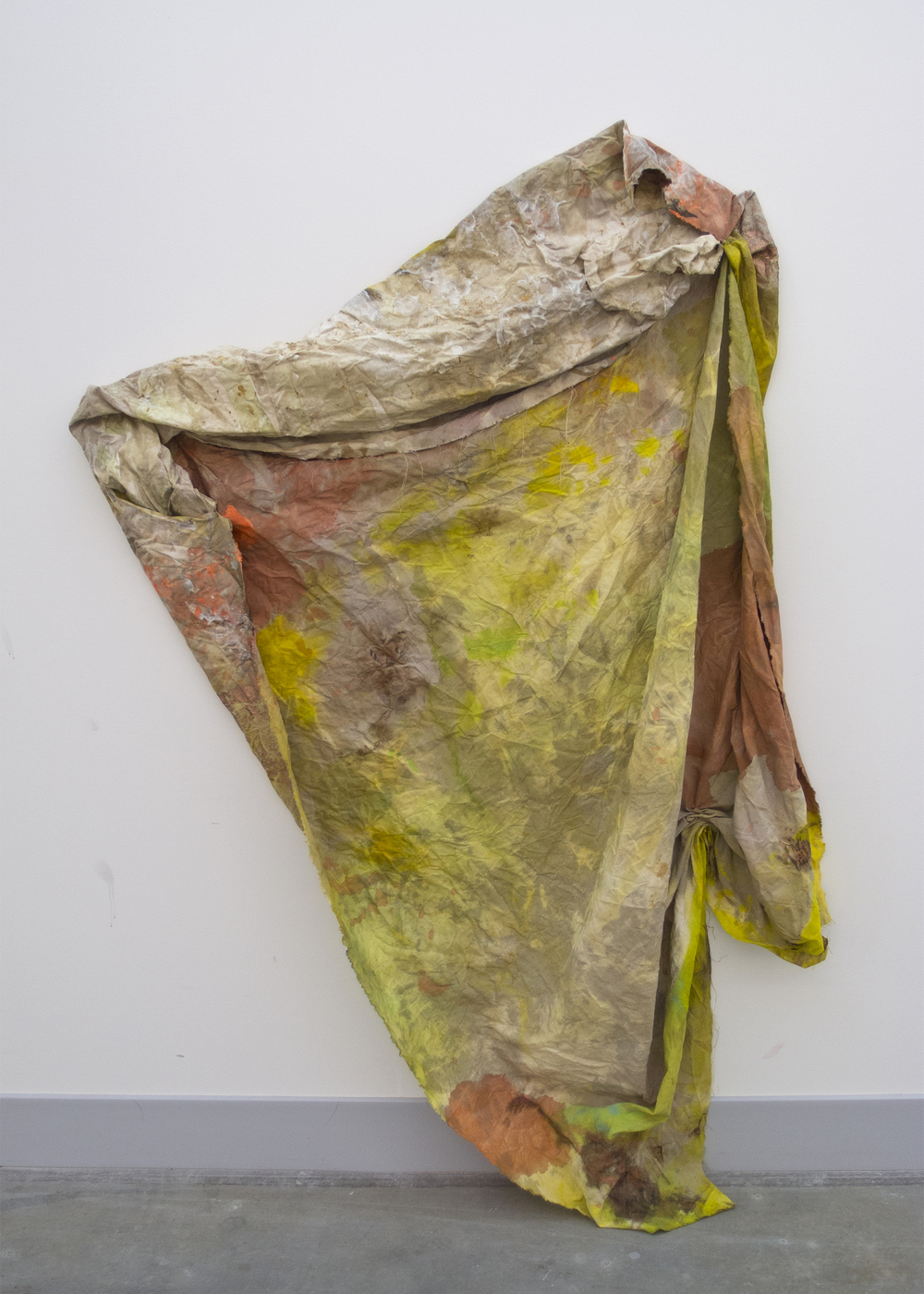 (untitled)  2012 acrylic, fabric dye, bleach, spray paint, ink, gouache, gesso, salt, rust, and reflective beads on linen