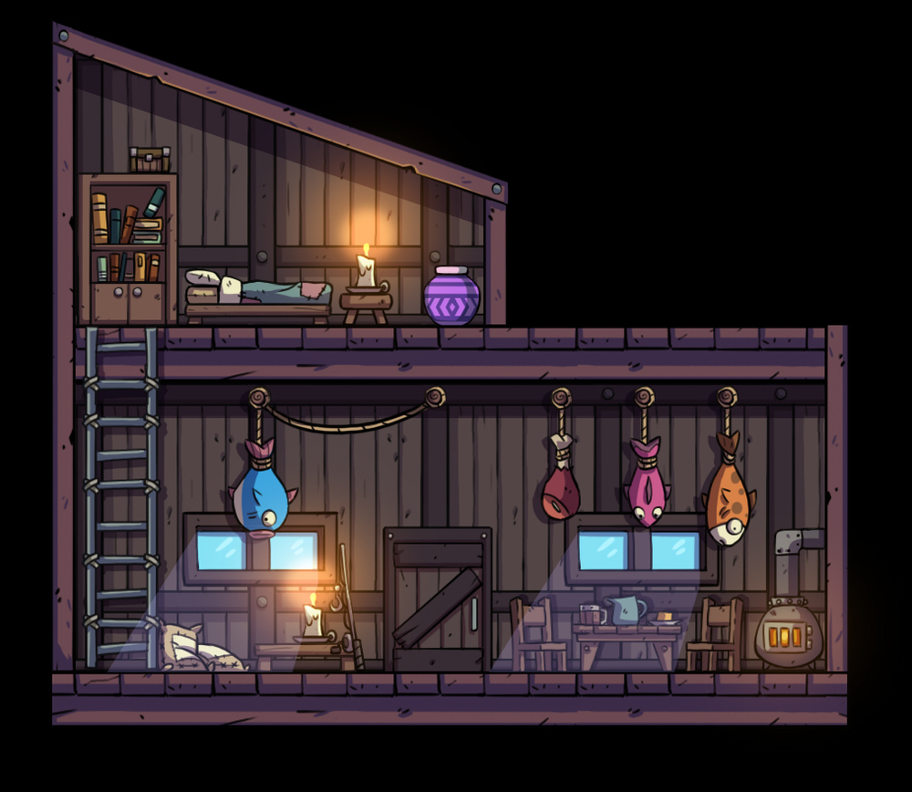 Concept Art for the inside of the Boatman's House