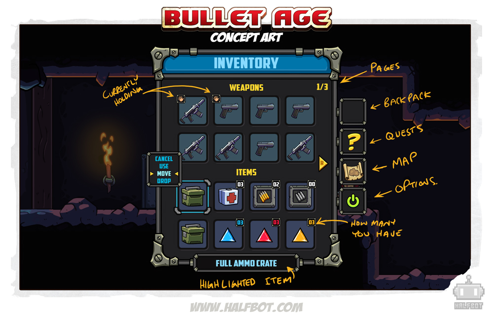 Working hard on the UI design. Here is a mockup of our inventory system along with notes about what is what. Some of this may change as we get deeper into development but for now this suits the plans we have for the overall design of Bullet Age.