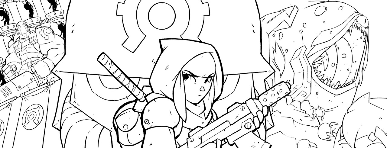 The line art for the Poster you see above. I used a pencil line brush I created when I drew this.