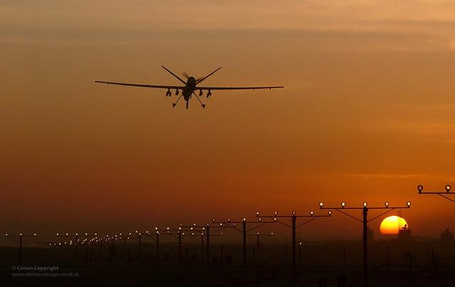 MQ-9 Reaper lands in Kandahar, Afghanistan; Image courtesy of Flikr user Defence Images.