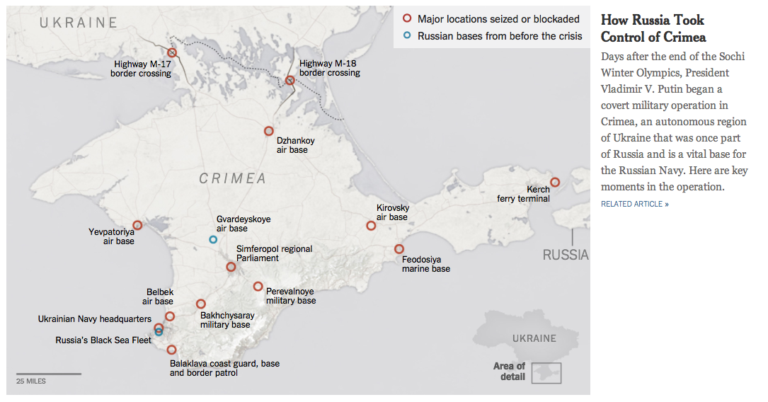 Image courtesy of NYTimes - an excellent feature on the military steps in seizing Crimea.