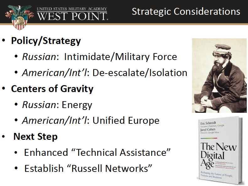 Image was part of slide presentation at War Council on March 7, 2014.