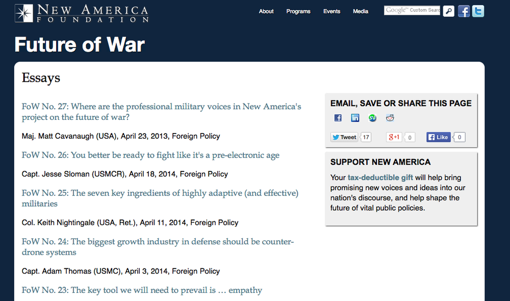 Link to Future of War essays.