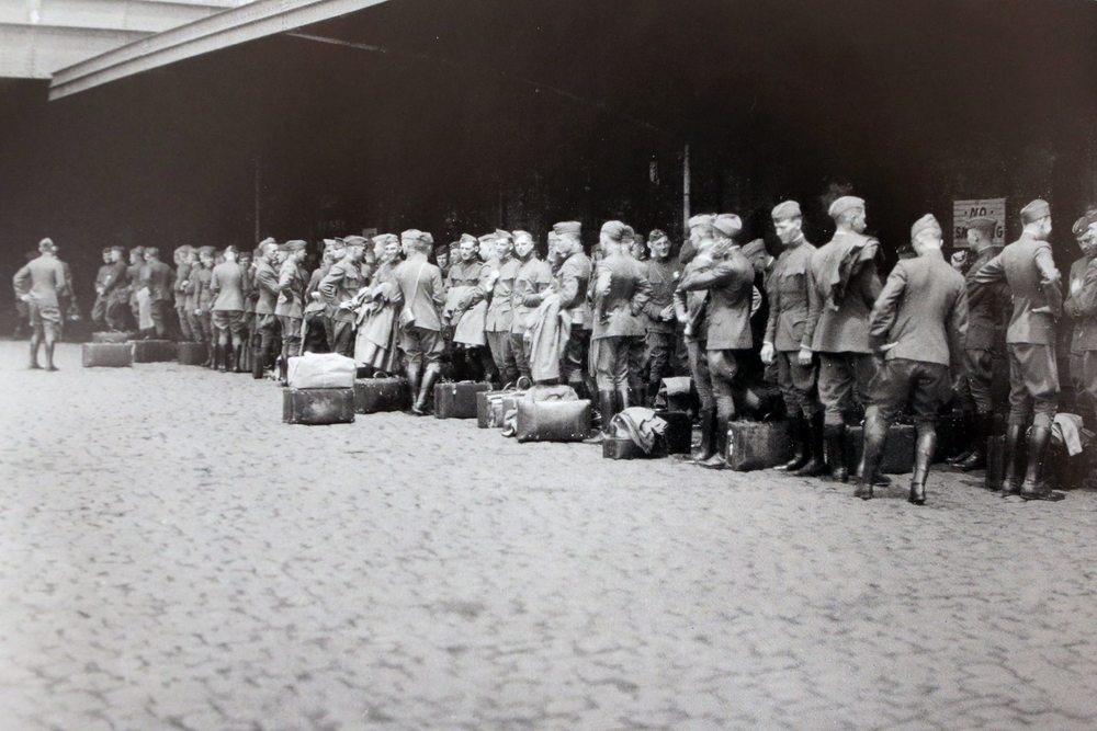 West Point cadets departing for a two month-long trip to study European Great War battlefields in the summer of 1919.