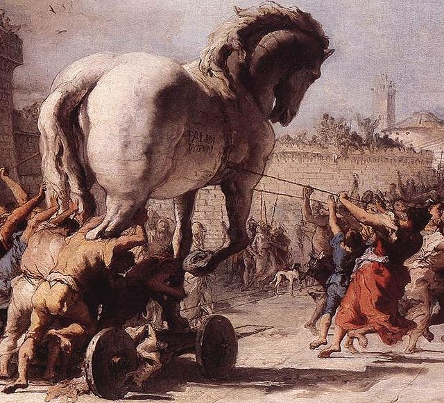 Detail from The Procession of the Trojan Horse in Troy by Domenico Tiepolo (1773), courtesy of Wikipedia.
