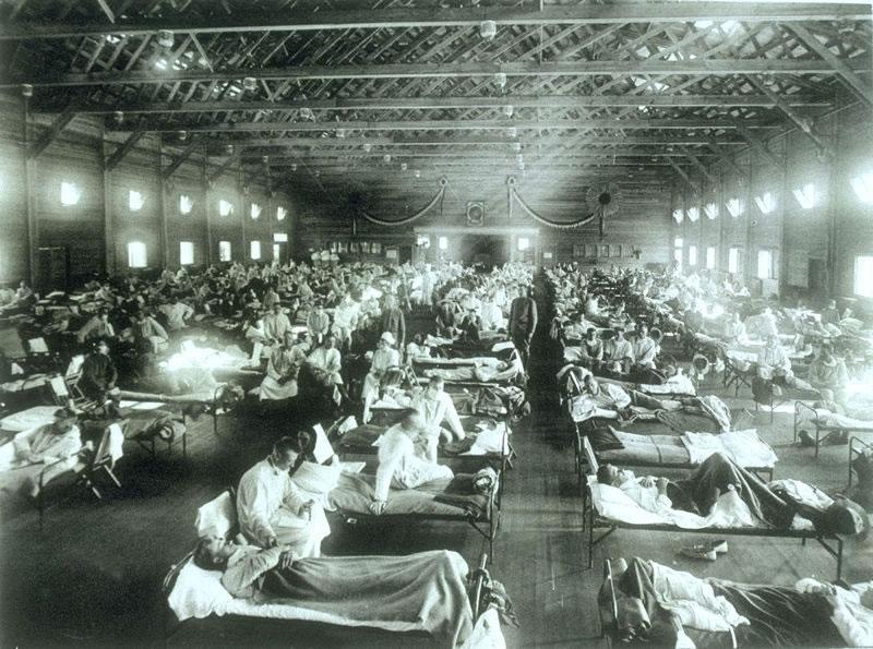 Image of Camp Funston, Kansas (USA), US Army base, 1918 provided courtesy of Wikipedia.