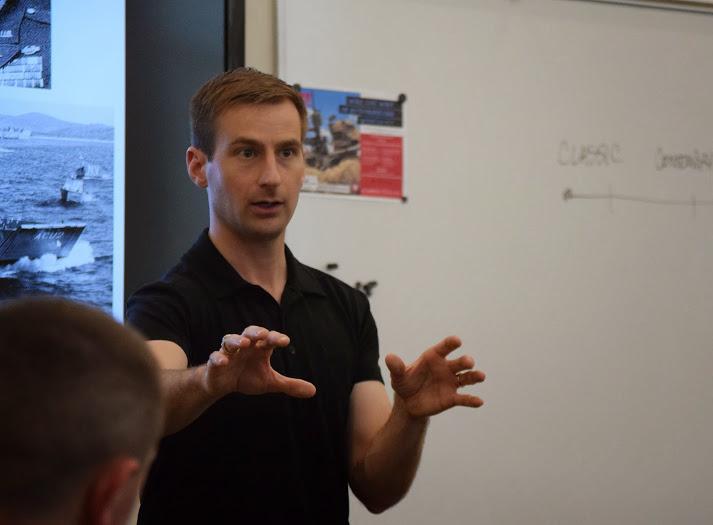 Major Matt Cavanaugh lecturing at the University of Utah.