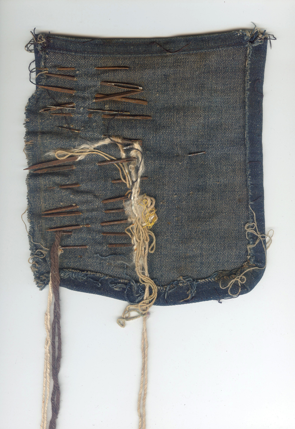 burthening - denim, string, needles