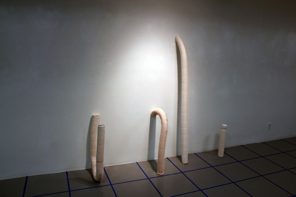 Advanced Sculpture, 393 – Wood and Everyday Materials: Student exhibition at Laverne Krauss Gallery, cast plaster forms (2015)