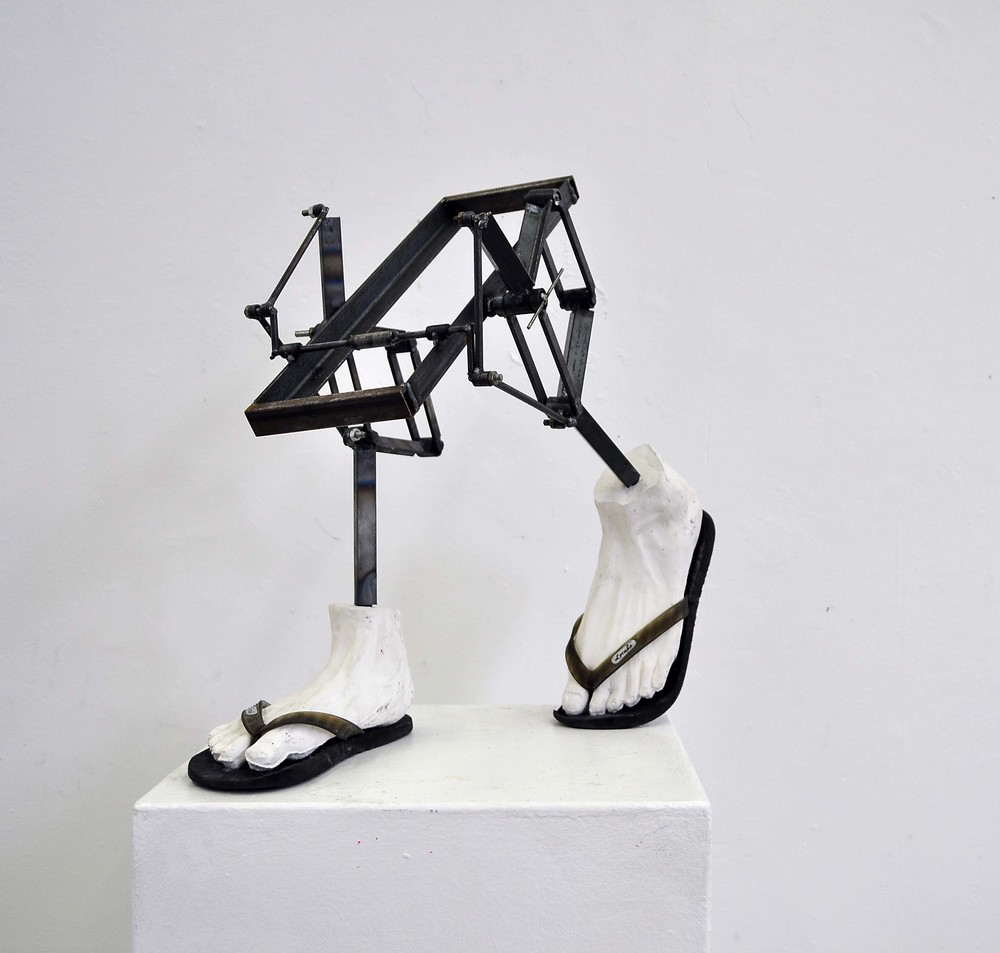 Sculpture 1, 288 - Mixed Media: Fragmented Body project, mold construction, plaster and steel (2014)