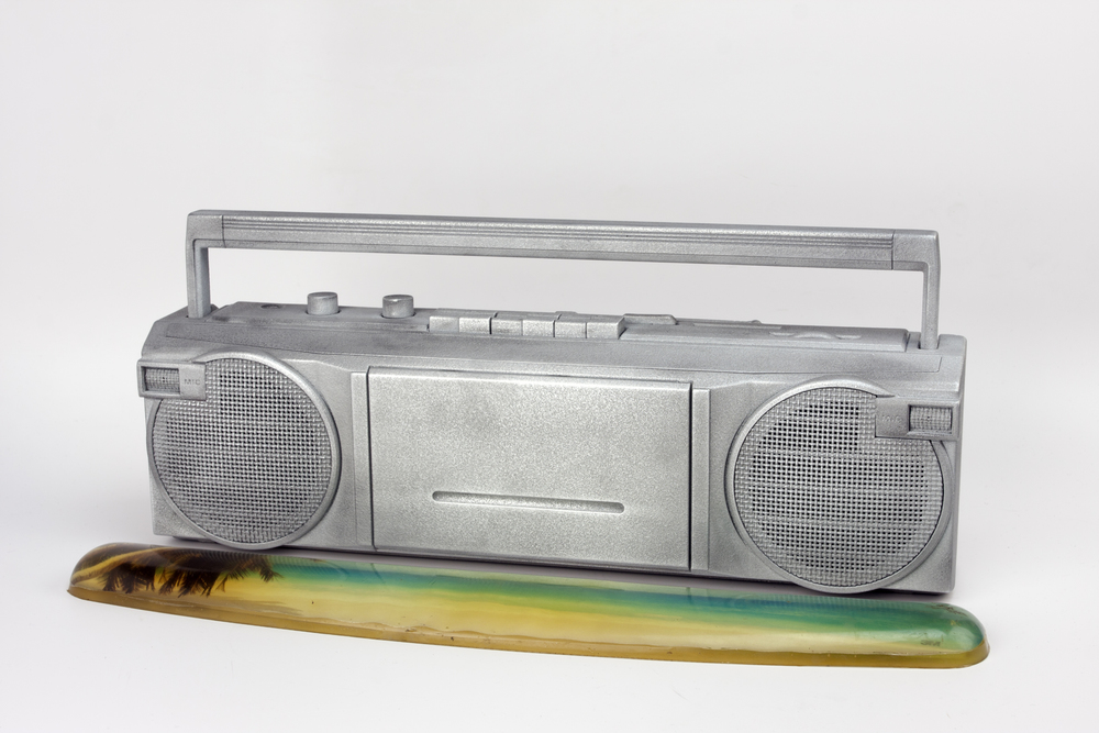 untitled - zinc coated general electric boom box model 3-5623A, 3M gel keyboard wrist rest with beach scene