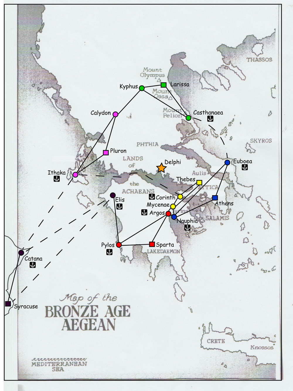 Starting map for the gathering gamers Dba greek campaign 2014