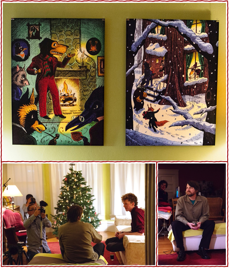 "top: Poster-sized reproductions of Adam's ""Mr. Dog Spins a Tale"" and ""Christmas Arrival at the Old Hollow Tree"" on display for guests at our special holiday reading party in December. bottom: Henry interviewed Adam about the illustration process while videographer Tim Prestoza captured footage for our (in-the-works!) book trailer. photos © Sarah Deragon"