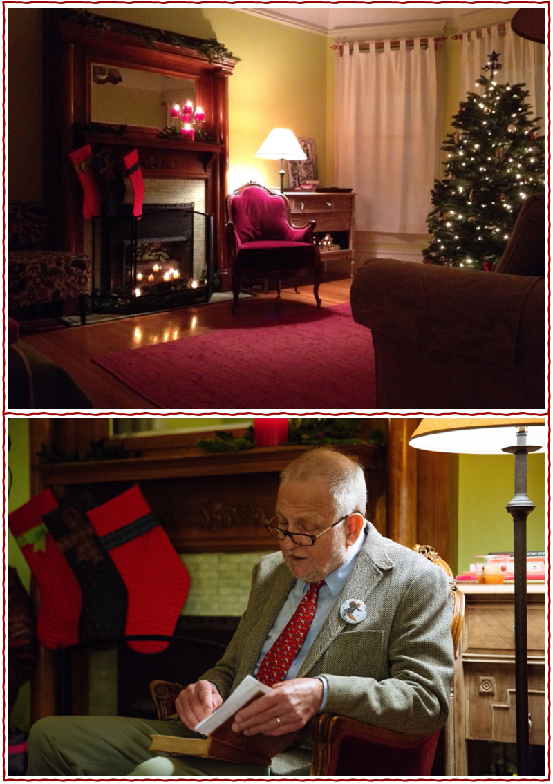top: The scene set for a cozy reading of Mr. Dog's Christmas at the Hollow Tree Inn. bottom: The other Mr. Dog, Jim Luther, spiffed up for a special rendition of his annual reading. photos © Sarah Deragon