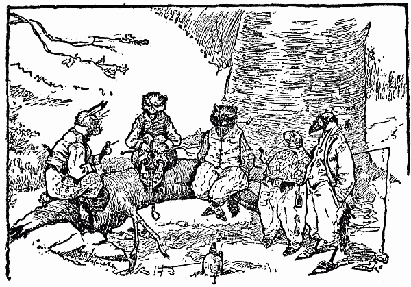 """""""THEY CAME TO A LOG UNDER A BIG TREE AND SAT DOWN FOR A SMOKE AND TALK"""" (image courtesy of Project Gutenberg)"""