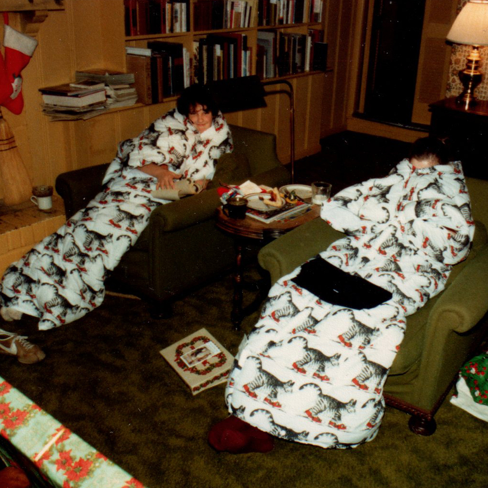 Long before The Slanket, we enjoyed these sleeping bag-like robes, decked with B.Kliban's iconic sneaker-wearing cat—very convenient for staying even warmer near the fire, but not as enduring as Mr. Dog's Christmas, or all the wonderful memories of Christmases past.