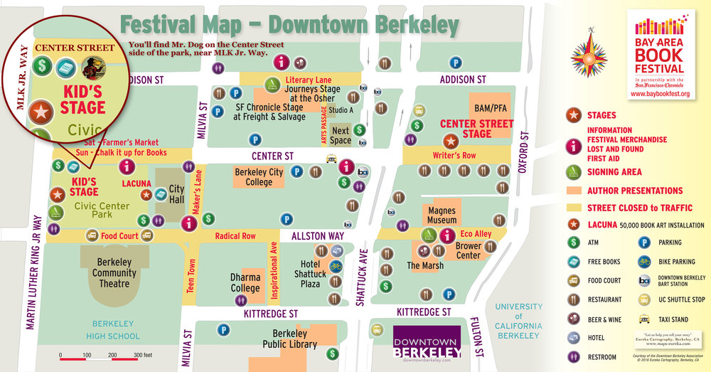 You'll find us on Center Street, near the corner of Martin Luther King, Jr. Way, in Berkeley. The festival is easily accessible by BART.