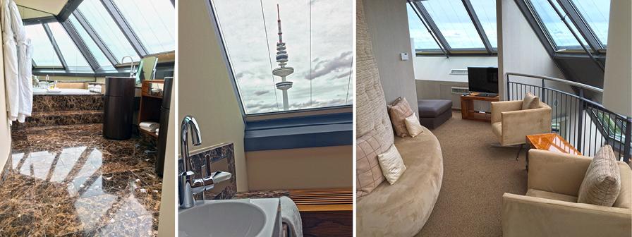 In der zweiten Turm Suite befindet sich das Badezimmer unten und der Loungebereich auf der offenen Galerie.