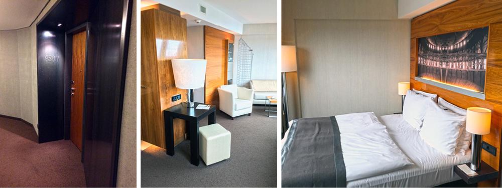 In den Junior Suiten wurden elgente und raffinierte Einbauten entworfen. Dadurch wurde die spezielle Raumform optimal und formschön genutzt.