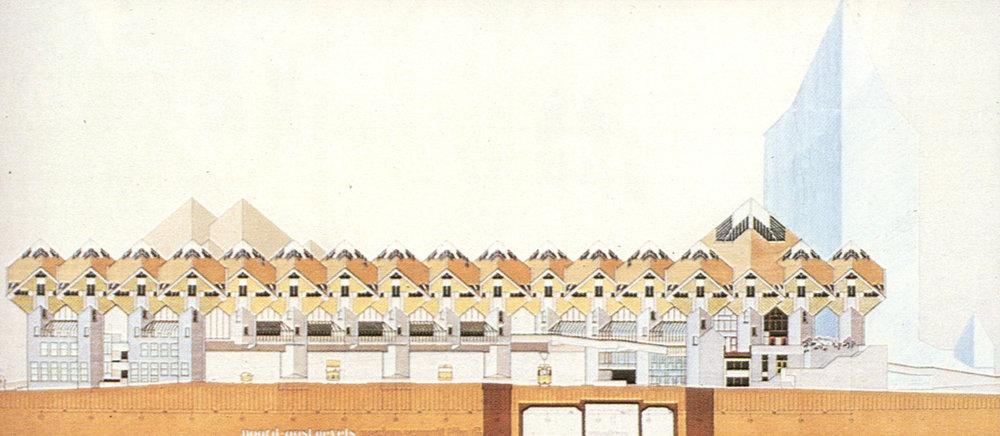 Ansichtsplan des Wohnkompexes von Piet Blom, Bildquelle: www.archdaily.com