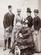 Who: Prince Albert Victor, Alix, Princess Beatrice, Princess Irene, Queen Victoria, little pug.     Balmoral 1887    Source:   misshonoriaglossop
