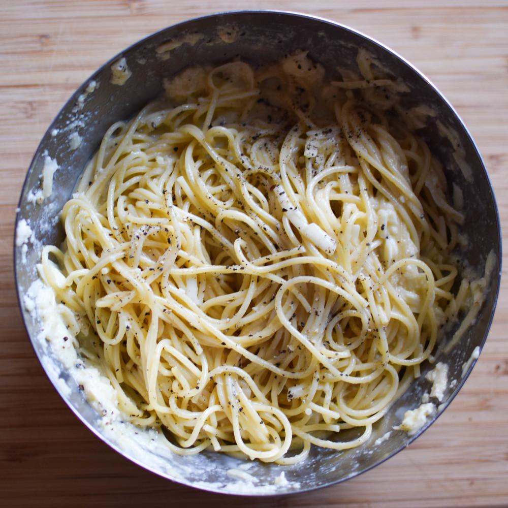Spaghetti, ready for waffling