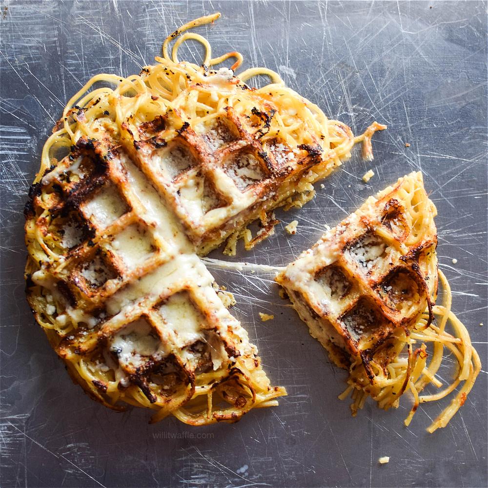 Waffled Spaghetti Pie