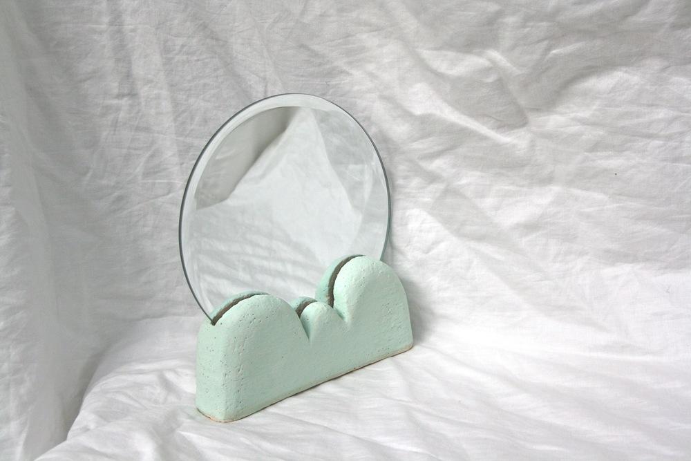 Backtalk 03   sculpted stoneware & underglaze w/ mirror insert