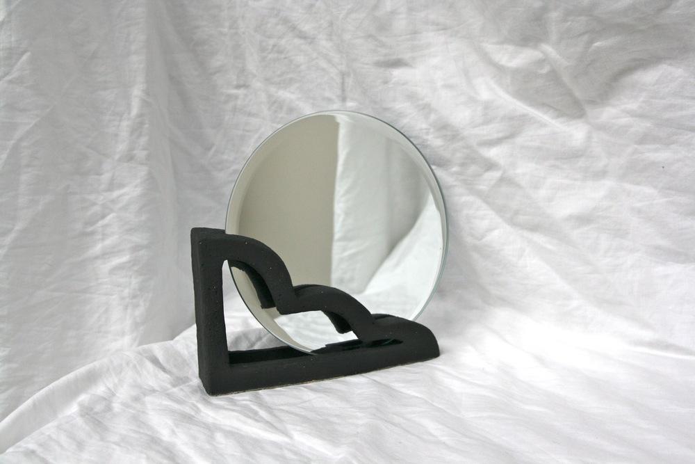 Backtalk 04   sculpted stoneware & underglaze w/ mirror insert