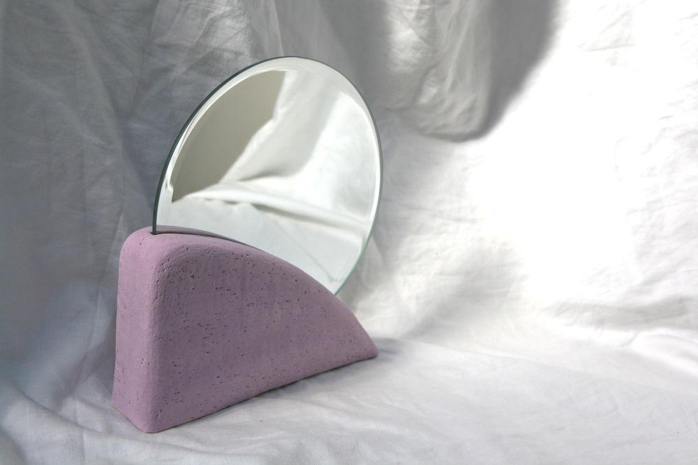 Backtalk 06   sculpted stoneware & underglaze w/ mirror insert