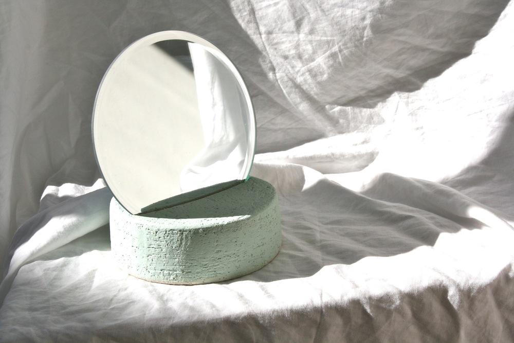 Backtalk 07   sculpted stoneware & underglaze w/ mirror insert