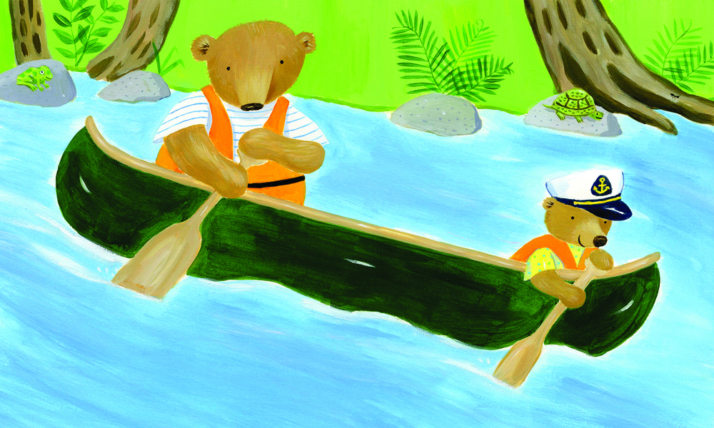 Bears in a canoe.