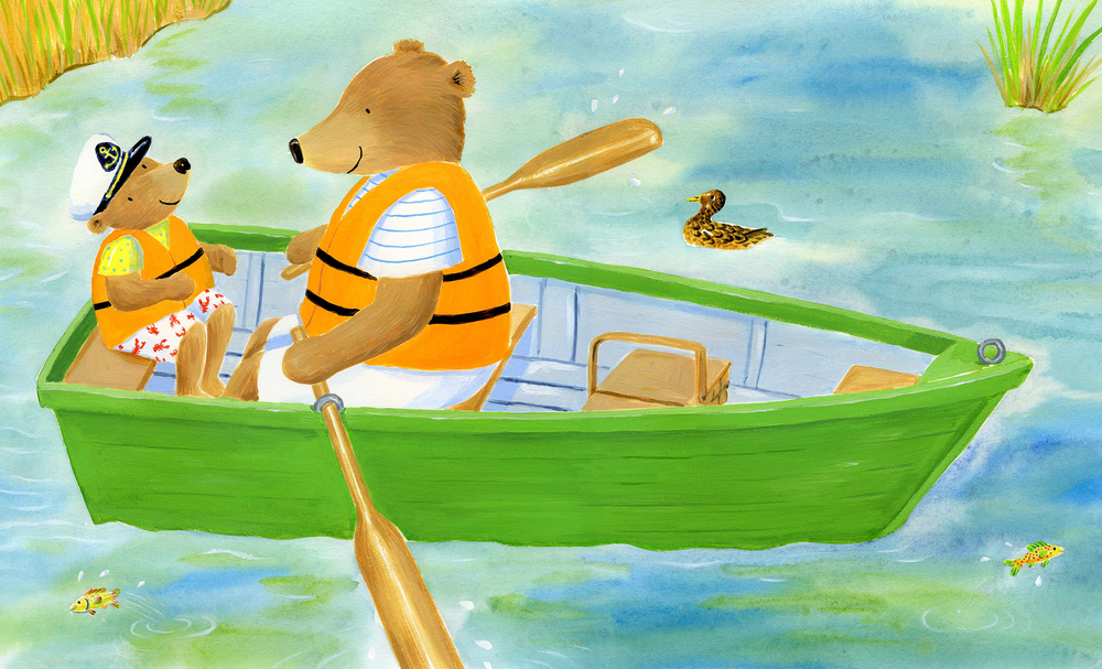 Bears in a rowboat.