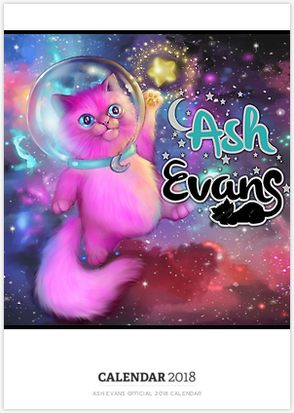 2018 Ash Evans Calendar. Retail price 24.99  Click image to purchase from Red Bubble. Not combinable with items currently in your cart.  Dimensions:  Width 11.7″ Height 16.5″ (Printed to fit A3)