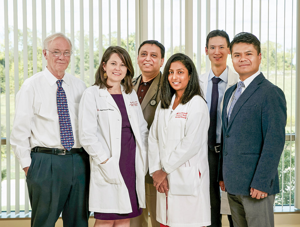 U of L Physicians from the James Graham Brown Cancer Center. Pictured left to right: Donald Miller, MD, PhD, Beth Riley, MD, FACP, Vivek Sharma, MD, FACP, Mounika Mandadi, MD, Adam Rojan, MD, and Jorge Rios, MD.