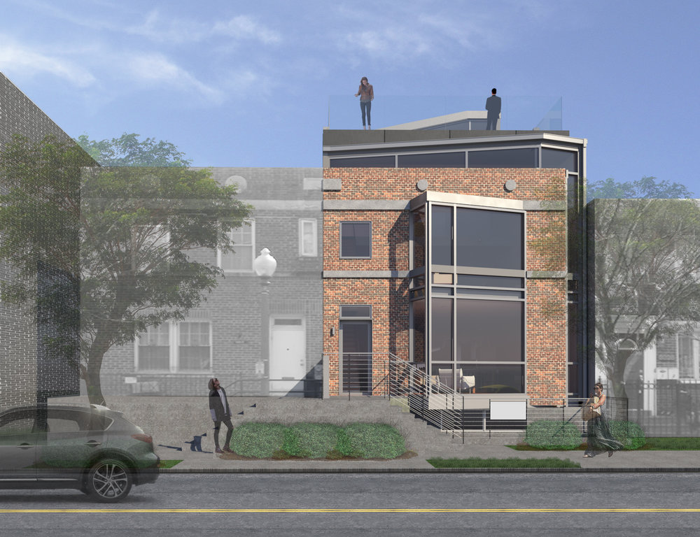 In this 3 unit building a glass volume wraps around an existing semi-detached row house, and reveals itself on the front facade through a bay window addition. 1.5 stories and a roof deck were added.