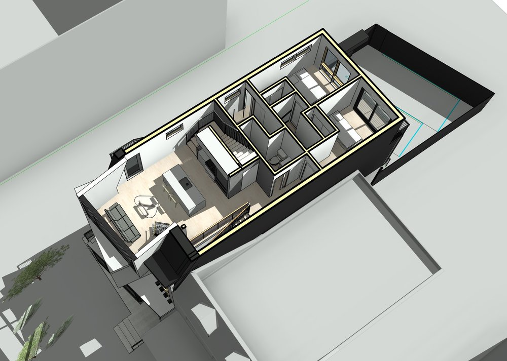 The 3rd floor contains the bedroom and bathroom for the 2nd floor duplex unit, along with the main level of a 2-bedroom duplex unit that also occupies the penthouse.