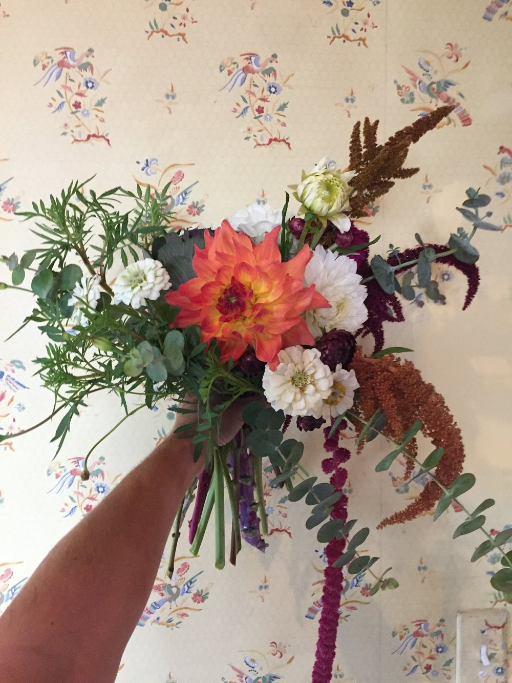 A favorite bridal bouquet of last week, shown off on our historic kitchen wallpaper.