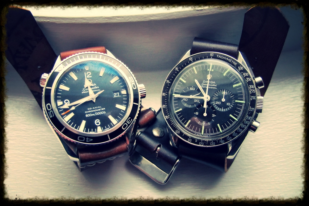 Omega PO and vintage Speedy on two-piece and one-piece straps.
