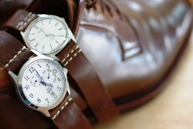 A pair of two-piece Cognac straps made to match a pair of Cognac shell shoes.
