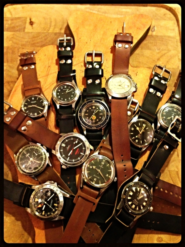 Vintage and military-issued watches on various Rover Haven straps. What a collection!