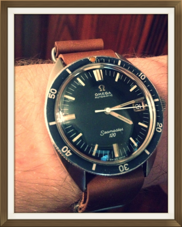 Omega SM120 on MIL strap in Whiskey shell.